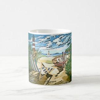 Beach Scene Vintage Cartoon Mug