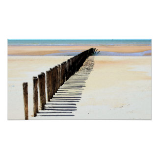 Beach Scene Watercolor Poster Print
