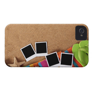 Beach scene with blank photo prints, towel, iPhone 4 Case-Mate case