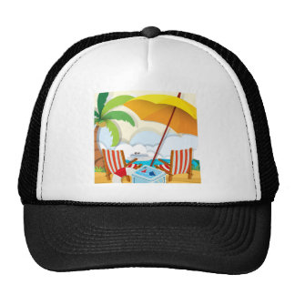 Beach scene with chairs and umbrella cap