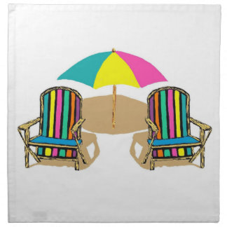 Beach Scene with Chairs and Umbrella Napkin