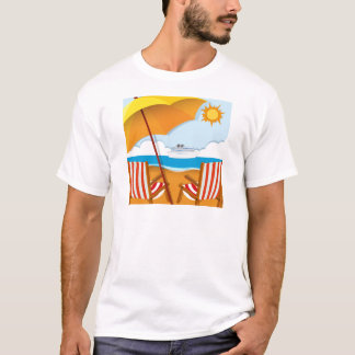 Beach scene with chairs and umbrella T-Shirt