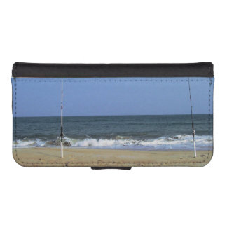 Beach Scene With Fishing Poles iPhone 5 Wallet Cases