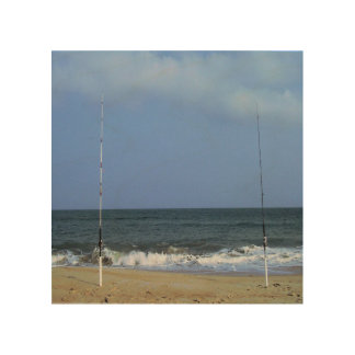 Beach Scene With Fishing Poles Wood Wall Decor