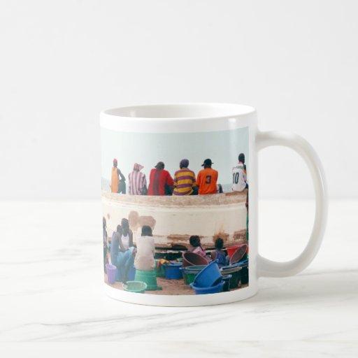 Beach Scene with Overturned Boat, Gambia Coffee Mugs