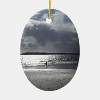 Beach Scene with people Walking Christmas Ornament