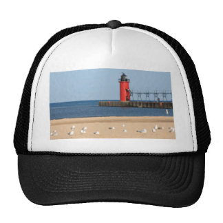 Beach scene with seagulls and lighthouse trucker hats