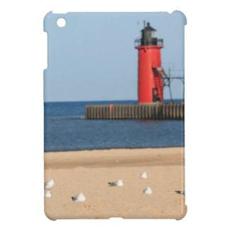 Beach scene with seagulls and lighthouse iPad mini case
