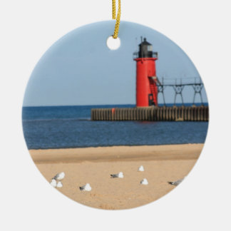 Beach scene with seagulls and lighthouse round ceramic decoration