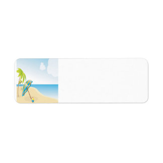 Beach Scene with Umbrella, Palm Trees & Beach Ball Return Address Label