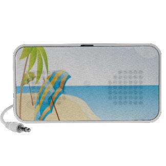 Beach Scene with Umbrella, Palm Trees & Beach Ball Speaker