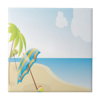 Beach Scene with Umbrella, Palm Trees & Beach Ball Tile