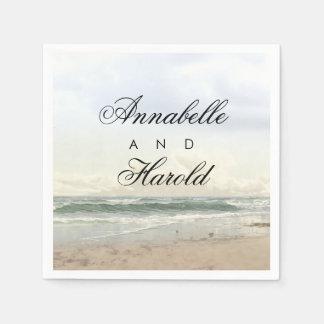 Beach Scenery Romantic Wedding Paper Serviettes