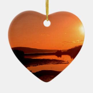Beach Schoodic Point Seacoast Maine Ceramic Heart Decoration