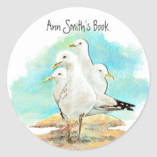 Beach & Seagull Book Plate to Customise Sticker
