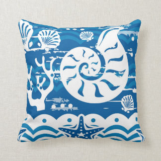 Beach seashell starfish Nautical home decor Cushion