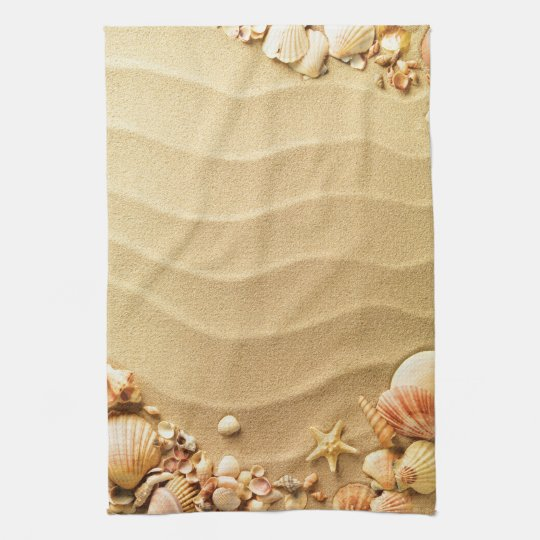 Beach Seashells Hawaii Sand Kitchen Dish Towel