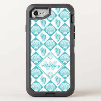 Beach Seashells Nautical Blue White | Monogram OtterBox Defender iPhone 8/7 Case