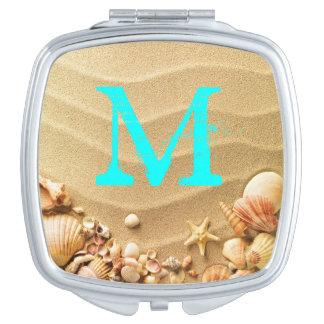 Beach Seashells Sand Hawai Monogram Compact Mirror