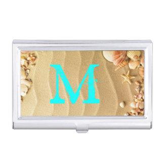 Beach Seashells Sand Monogram Business Card Hold Business Card Holder