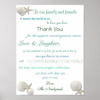 Beach Seashells Wedding Reception Poster Thank You