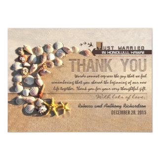 beach seashells wedding thank you cards