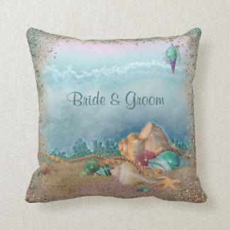 Beach Seashells Wedding Throw Pillow