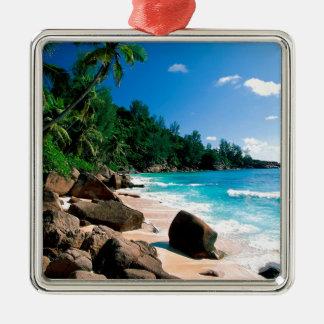 Beach Secret Getaway Silver-Colored Square Decoration