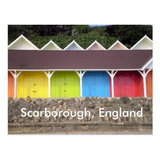 beach sheds, Scarborough, England Postcard