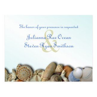 Beach Shells Border Wedding Invitation Postcard