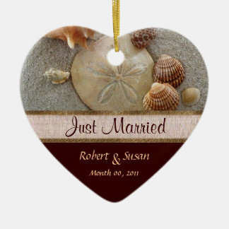 Beach Shells Heart Shaped Wedding Favor Christmas Ornament
