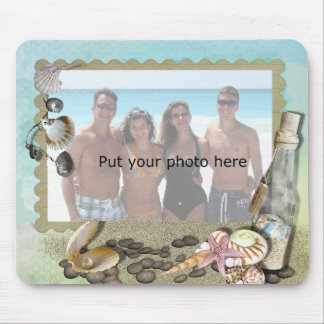 Beach, shells, sand and bottle frame - Add Photo Mouse Pad