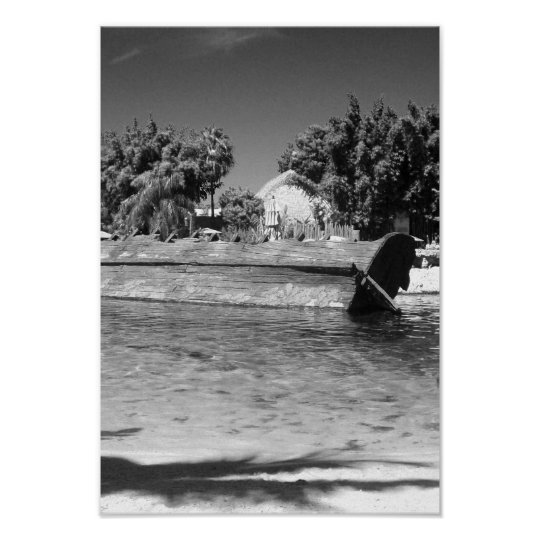 Beach Shipwreck Scene Black And White Photo Poster