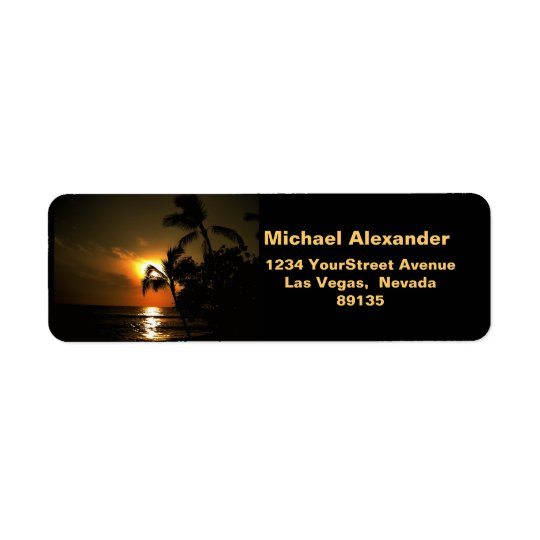 Beach Shoreline Sunset Return Address Label