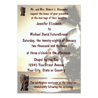 Beach Shoreline Tiki Wedding 13 Cm X 18 Cm Invitation Card