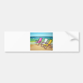 Beach-Side- abstract bright summer beach-chairs Bumper Stickers