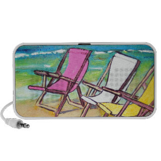 Beach-Side- abstract bright summer beach-chairs iPod Speaker
