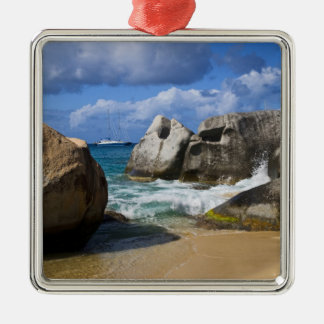Beach side at Virgin Gorda, British Virgin Silver-Colored Square Decoration