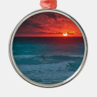 Beach Silver-Colored Round Decoration