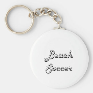 Beach Soccer Classic Retro Design Basic Round Button Key Ring