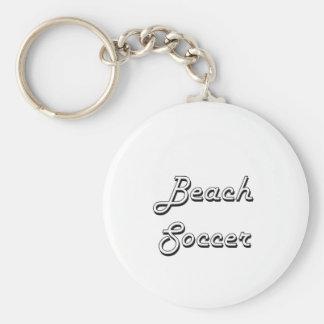 Beach Soccer Classic Retro Design Basic Round Button Key Ring