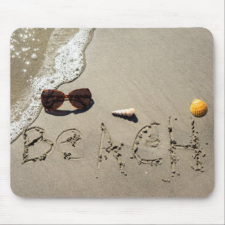 Beach Spelled In The Sand Mouse Mat