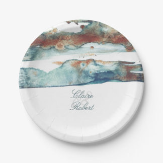Beach Splash Watercolor Modern Wedding 7 Inch Paper Plate