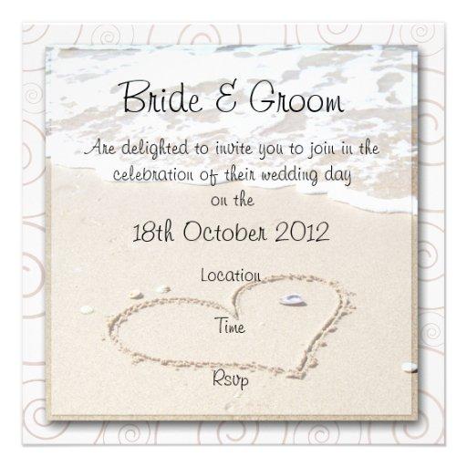 BEACH square Wedding Invitation