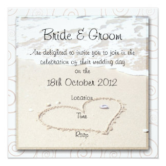 BEACH square Wedding Invitation