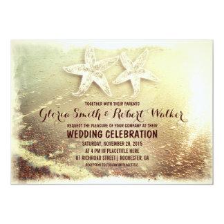 Beach starfish couple and sea wave beach wedding 13 cm x 18 cm invitation card