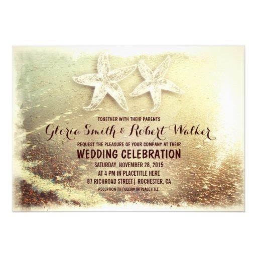 Beach starfish couple and sea wave beach wedding announcements
