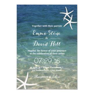 Beach Starfish Elegant Summer Wedding 13 Cm X 18 Cm Invitation Card