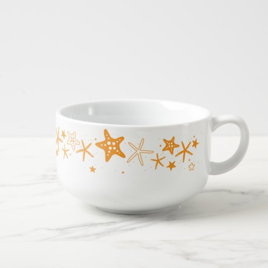 Beach Starfish Soup Bowl With Handle
