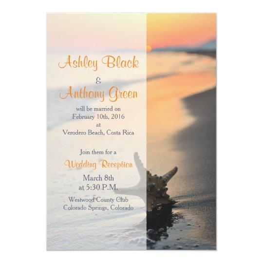 Beach Starfish Sunset Wedding Reception Only Card